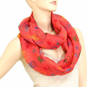 Owl Infinity Scarf Lightweight Coral Mult-Color